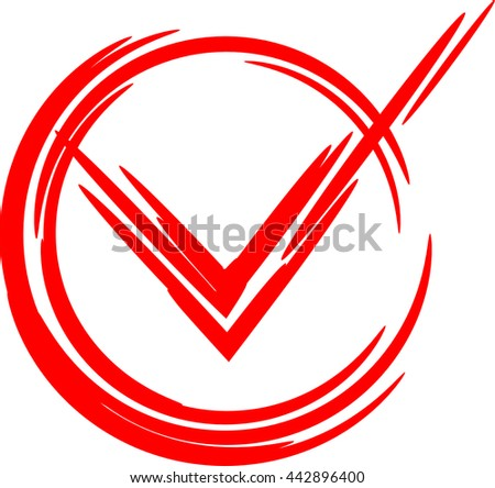 Check Mark Yes. Red icon sign yes in circle. Vector illustration EPS 8 - stock vector