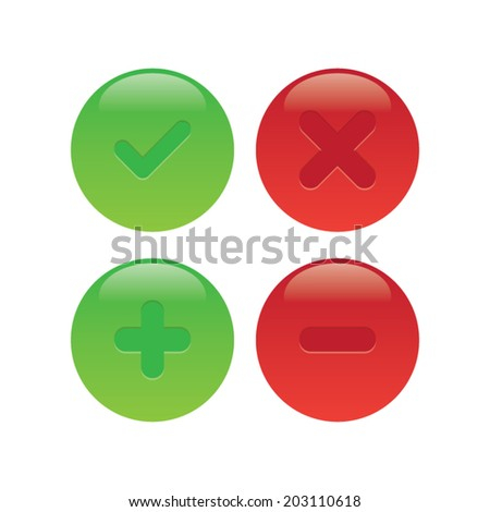 Check Marks and Plus Minus Icons - stock vector
