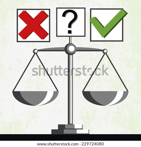 Check marks and scales, comparison of results. Vector - stock vector