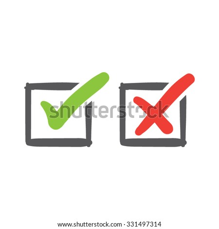Check Marks in Boxes - stock vector