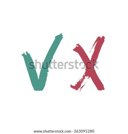 Check Marks. Painted by Brush. - stock vector