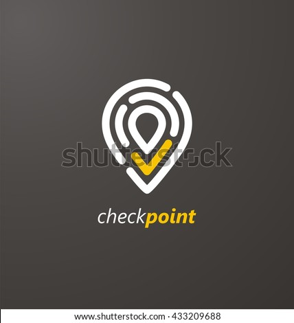 Check point creative symbol concept. Global Positioning System icon template. Navigation mark. Spot sign vector illustration.