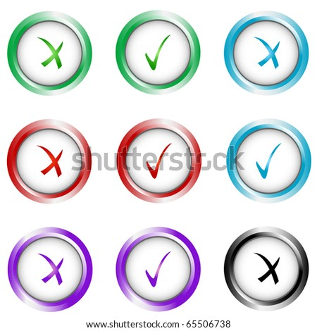 Check sign and tick sign set. Vector isolated - stock vector