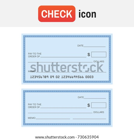 Check template bank. Blank check icon vector