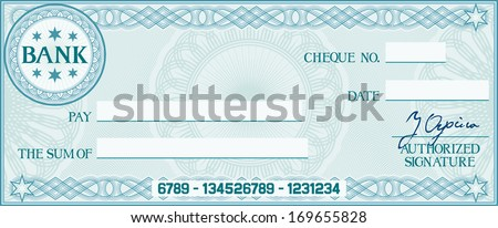 check with space for your own text (bank cheque, bank cheque blank for your business, blank check, blue business check) - stock vector