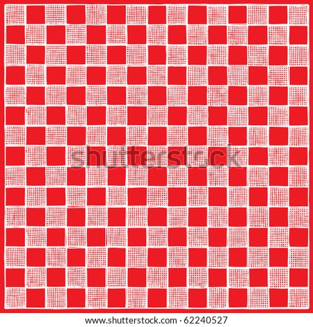 checkboard drawing red negative - stock vector