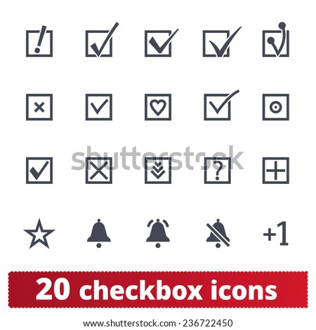 Checkbox icons: vector set of check marks, notifications, confirm signs. - stock vector