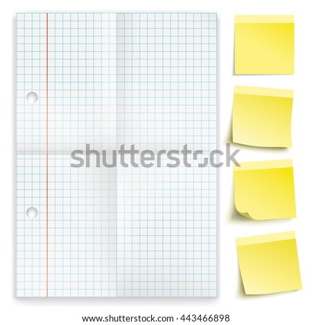 Checked and folded paper with yellow sticks on the white background. Eps 10 vector file. - stock vector