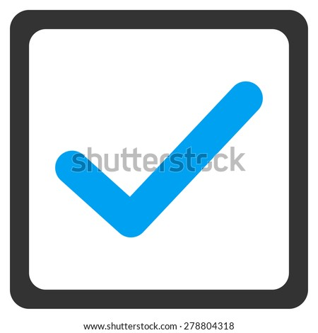 Checked check box icon from Business Bi color Set. This isolated flat symbol uses modern corporation light blue and gray colors. - stock vector