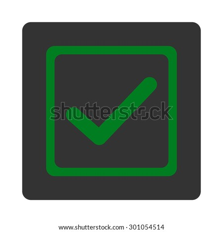 Checked checkbox icon. This flat rounded square button uses green and gray colors and isolated on a white background. - stock vector