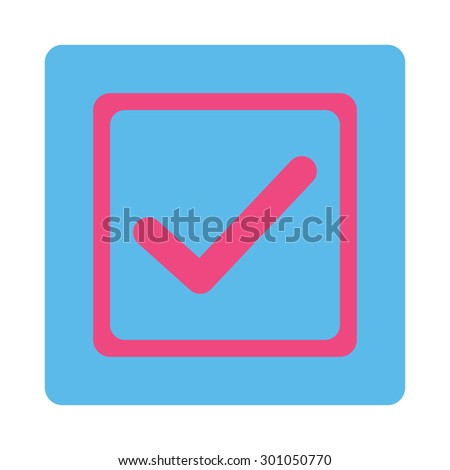 Checked checkbox icon. This flat rounded square button uses pink and blue colors and isolated on a white background. - stock vector
