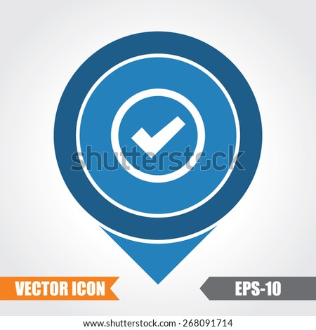 Checked Icon On Map Pointer. Eps.-10. - stock vector