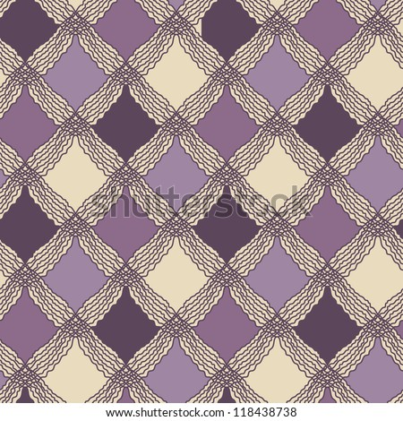 Checked seamless patterns. Stylish plaid pattern, vector repeating texture of cute tartan - stock vector