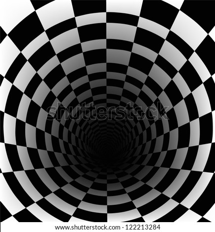 checkerboard background with perspective effect - stock vector