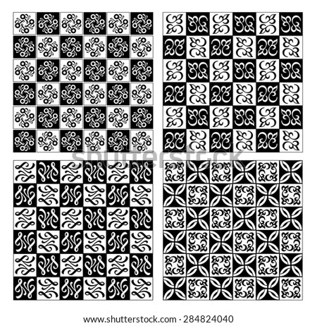 Checkerboard designed fine simple vintage patterns in white and black, EPS10 vector