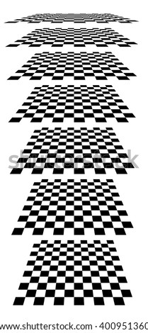 Checkerboards, chessboards, checkered planes in different perspective. Tilted, vanishing empty marble, pepita floors - stock vector