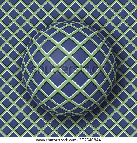 Checkered ball rolling along the checkered surface. Abstract vector optical illusion illustration. Extravagant background and tile of seamless wallpaper. - stock vector