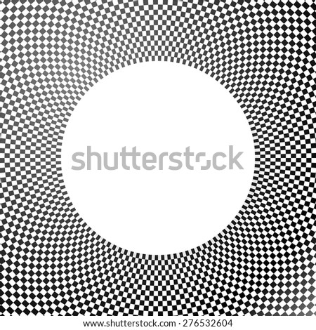 Checkered (chequered) abstract background, pattern with white circle. Vector. - stock vector