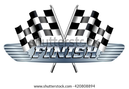 Checkered, Chequered Flags Motor Racing FINISH - stock vector