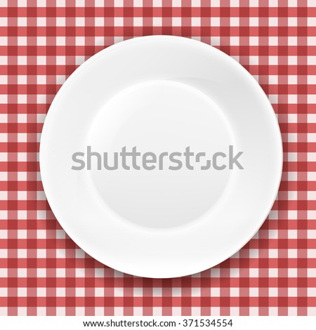 Checkered Cloth And White Plate With Gradient Mesh, Vector Illustration - stock vector