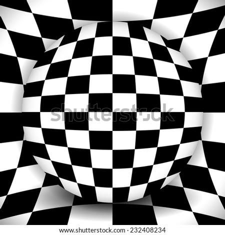 Checkered composition - sphere over distorted background - stock vector