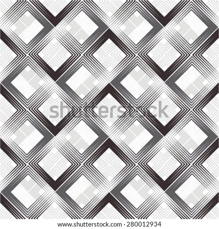Checkered diagonal pattern, line rhombus seamless vector background. - stock vector
