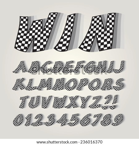 Checkered Flag Alphabet and Numbers, Editable eps10 Vector - stock vector