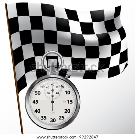 Checkered flag and stopwatch
