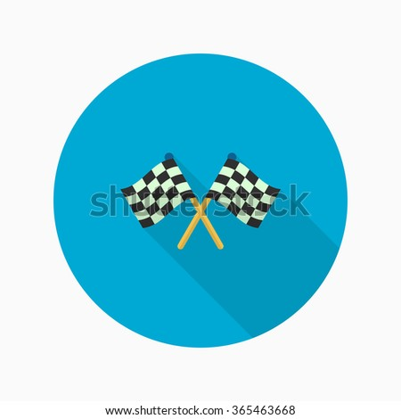 Checkered flag flat  icon with long shadow,eps10 - stock vector
