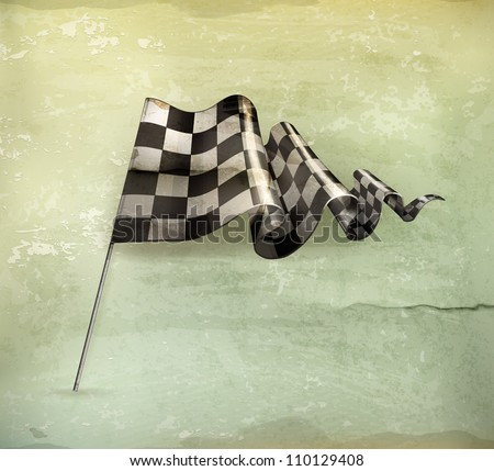Checkered Flag, old-style vector - stock vector