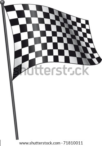 Checkered flag on white - stock vector