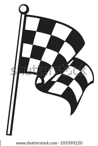 checkered flag (racing checkered flag, finishing checkered flag, finish flag) - stock vector