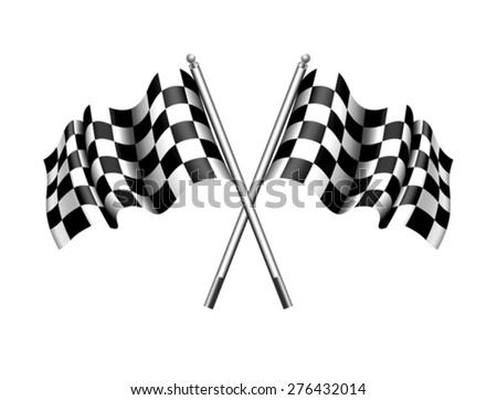 Checkered Flag -- Rippled black and white crossed chequered flag - stock vector