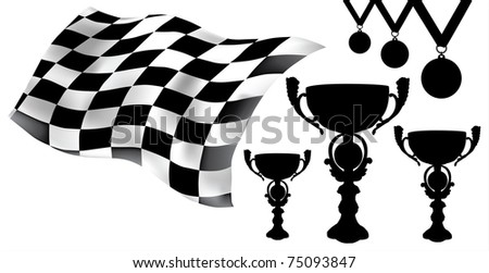 checkered flag trophies medals