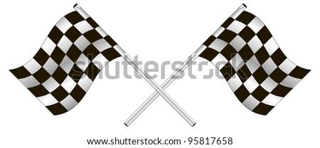 checkered flag. vector - stock vector