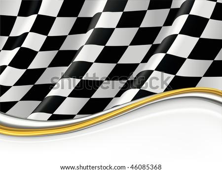 Checkered Flag, vector background - stock vector