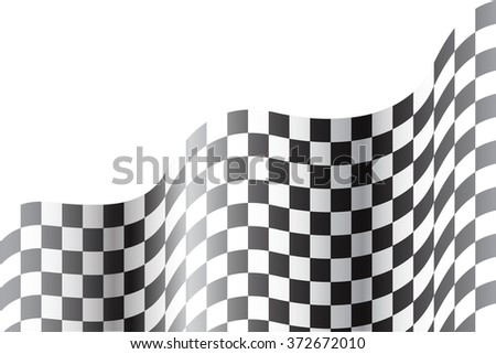 Checkered flag wave on white background vector illustration for sport design background. - stock vector