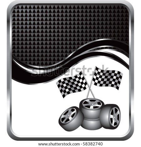 checkered flags and tires black checkered wave - stock vector