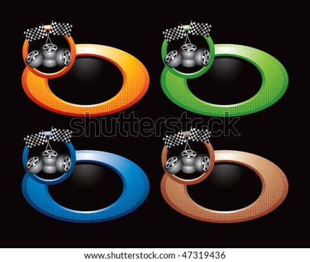 checkered flags and tires colored round rings - stock vector
