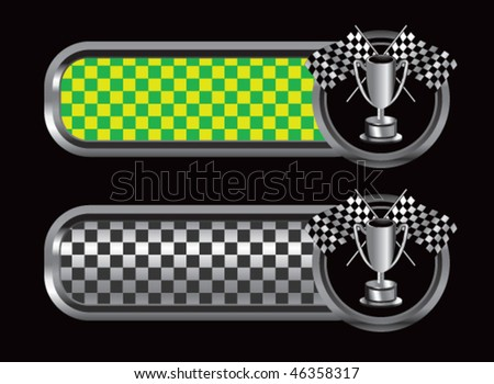 checkered flags and trophy green and black checkered tabs - stock vector