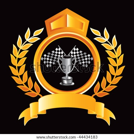checkered flags and trophy orange royal display - stock vector