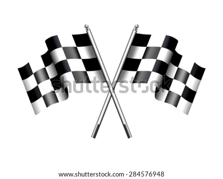 Checkered Flags Motor Racing -- Rippled black and white crossed. - stock vector