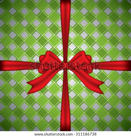 Checkered gift box with red ribbon.Vector - stock vector