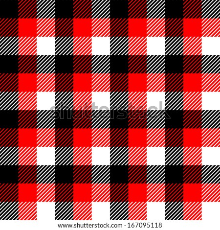 Checkered gingham fabric seamless pattern in black white and red, vector - stock vector