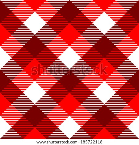 Checkered gingham fabric seamless pattern in red and white, vector - stock vector