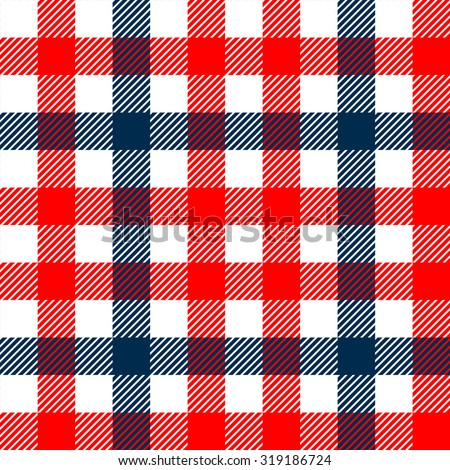 Checkered gingham plaid fabric seamless pattern in blue white and red, vector print - stock vector