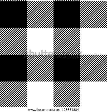 Checkered gingham simple fabric seamless pattern in black and white, vector - stock vector
