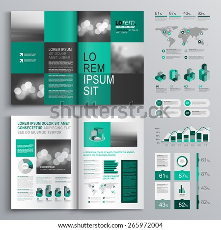 Checkered green brochure template design with square shapes. Cover layout and infographics - stock vector