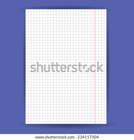 checkered notebook paper on  blue background. vector - stock vector