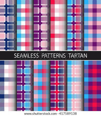 Checkered pattern in large and small checks. Set seamless pattern tartan. Image is suitable for the design of packaging, home textile, flannel shirts, umbrellas, etc. Trendy hipster style background - stock vector